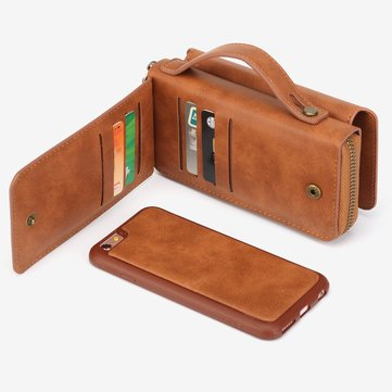 Free Gift + BRG Removable Functional Wallet PU Leather HandBag Zipper Cover Case For iPhone 6 6S