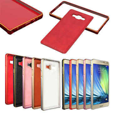 Buy Alu Metal Frame PU Leather Back Case Cover combination Samsung Galaxy A7