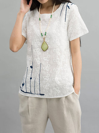 Original Casual Women Embroidery Irregular Hem Cotton Linen T-Shirt