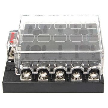 32V 10 Way Terminals Circuit Car Boat ATC ATO Blade Fuse Box Block Holder