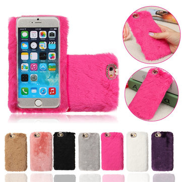Buy iPhone 6 6S 4.7'' Luxury Soft Cony Hair Fur Bling Diamond PC Hard Case Cover