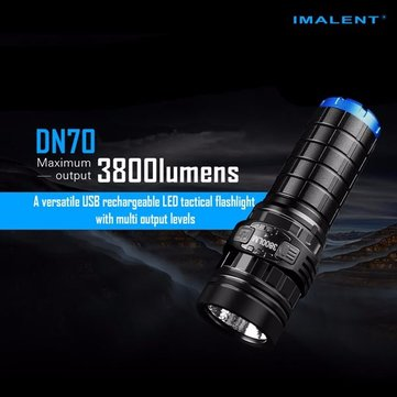 IMALENT DN70 Linterna recargable LED Tactical Xhp70 3800lm 26650