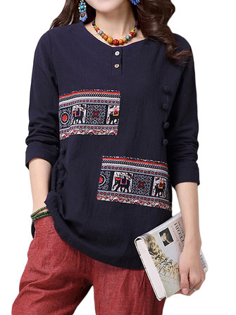 Casual Women Ethnic Style Printing Patchwork Long Sleeve T-shirt