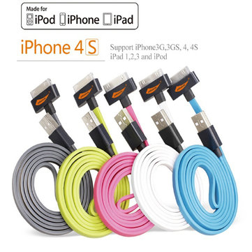 Original Yellowknife MFI Certified 30Pin USB Flat Charger Sync Cable For iPhone 4 4S iPad 1 2 3 iPod
