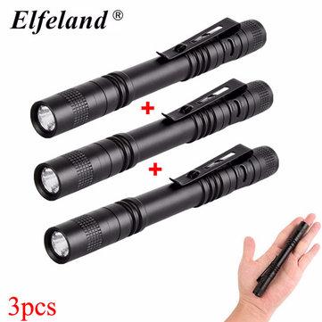 Elfeland XPE 600LM EDC LED Pen Light Flashlight With Clip AAA