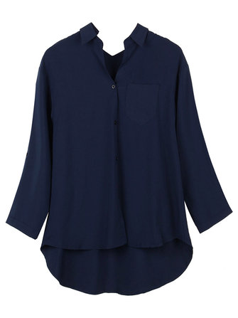 Original Asymmetrical Brief Pocket Chiffon Women Loose Button Lapel Blouse