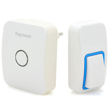US Plug Augreener Wireless Cordless Wireless Control Door Bell Battery-free 25 Chime Digital Doorbell