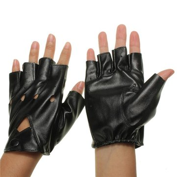 Motorcycle Half Finger Gloves Fingerless PU Leather Cool Leisure Cycling Driving