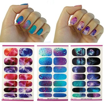 Buy 3D Sky Water Transfer Nail Art Wraps Stickers DIY Decals Beauty Decoration