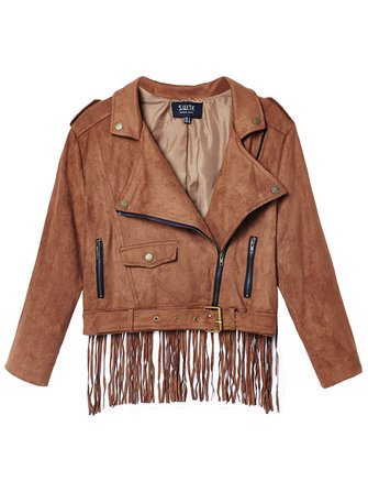 Women Suede Tassel Turn Down Collar Faux Leather Brown Jacket