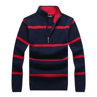 Mens bande automne hiver col montant fermeture éclair pull casual coupe slim pull maille