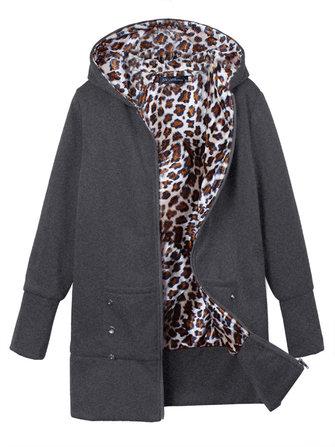 Leopard Hoodie Slim Coat Plus Size Casual Outwear For Women