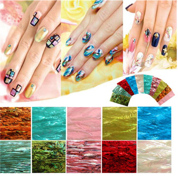 Buy 10 Colors 3D Natural Shell Nail Art Stickers Decals Manicure Decoration Sticker