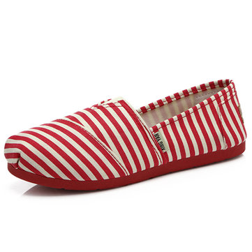 Buy Women Canvas Flat Casual Low Top Comfortable Slip Round Toe Loafers Shoes