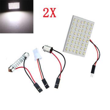 Buy 2x Car Light Panel 48SMD LED Interior Bulb T10 BA9S Adapter 6W
