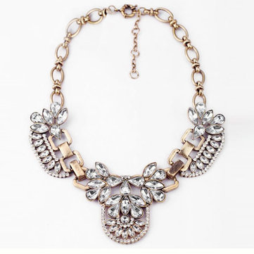 Statement Vintage Crystal Cluster Bubble Pendant Necklace Womens