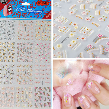 Buy 3D MIx Flower Lace Nail Art Stickers Glitter Stamping Decals
