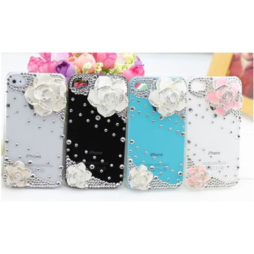 Buy 3D Camellia Flower Rose Diamond Bling Case iPhone 4 4S