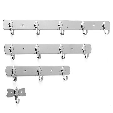 1/3/4/5 Hooks Stainless Clothes Wall Hanger Bathroom Towel Rack