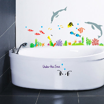 Vinyl dolphin and fish wall stickers under the sea for Bathroom fish decor