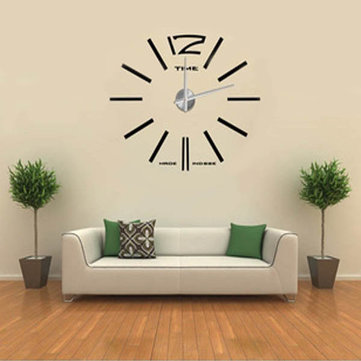 Buy DIY Frameless Wall Clock Kit 3D Mirror Decoration Black Big Large
