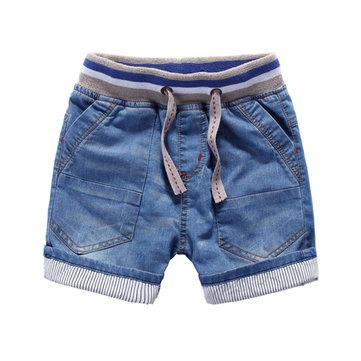 Дети мальчик темно-синий Летние джинсы супер мягкие моющие Шорты Штаны Брюки