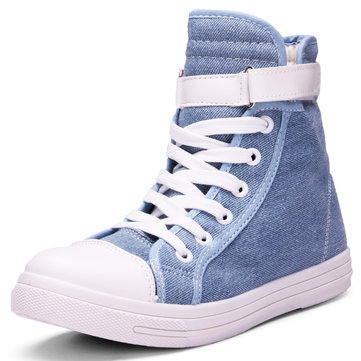 Buy High Top Lace-up Canvas Shoes Flat Casual Sneakers