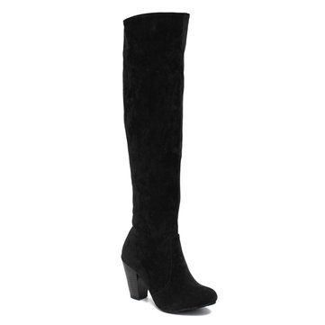 Original Women Classic Suede Thick Heel Over the Knee Boots