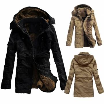 Buy Men Outdoor Coat Thicken Cotton-Padded Hoodie Jacket Large Size S-3XL