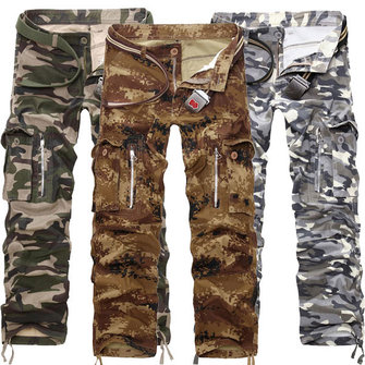 Mens Zipper Design Multi Pocket Cotton Camo Cargo Pants