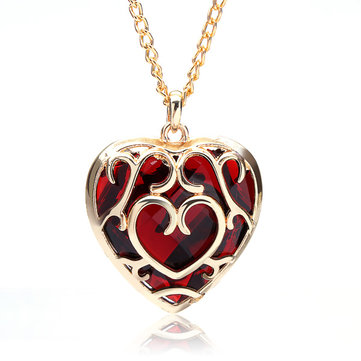 Big Red Crystal Heart Shaped Pendant Necklace Gold Plated at Banggood