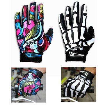 Motorcycle Racing Biker Full Finger Gloves Skeleton Skull Bone 919376