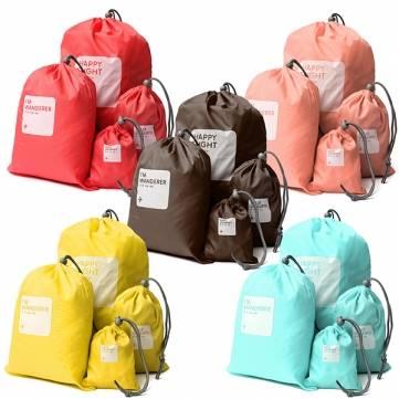 Bolsa de viaje de almacenamiento 4ps cordón xs sml color del caramelo impermeable