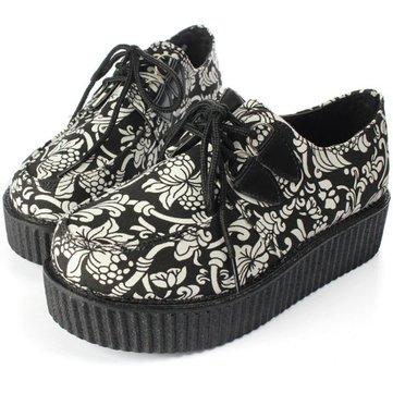 Chaussures punk Femmes Vintage fleur impression Plates-formes Ballerines à lacets