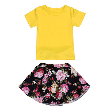 Buy 2015 Cute Fashion Kids Baby Girls Two Piece Set T-Shirt Top+Floral Skirt 1-5Y