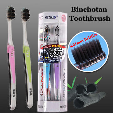 2pcs binchotan brosses à dents adultes antibactérien superfine brosse douce