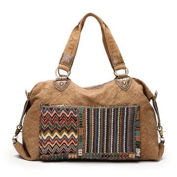 Women Folk-custom Crocodile Canvas Handbags Tribe Shoulder Bags Leisure Bohemia Crossbody Bags