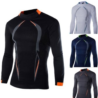 Buy Men Polyester Bodybuilding Sportswear tee Tights Long Sleeve Sports Quick-drying GYM T-shirts