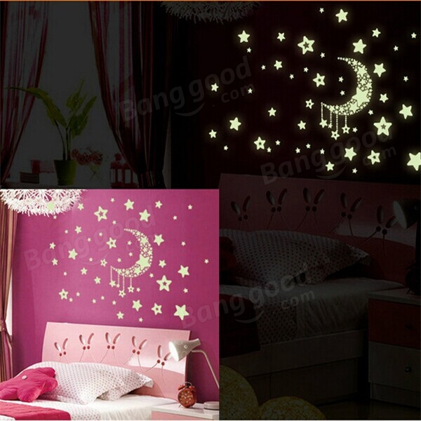 Moon Stars Wall Stickers Glow In Dark PVC Removable Decal Home Room Decor