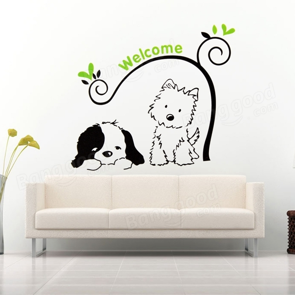 cat dog welcome wall stickers removable wall decal