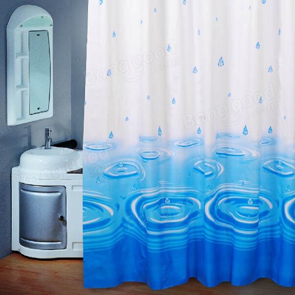 Blue Water Drop Waterproof Shower Curtain Bathroom Decor
