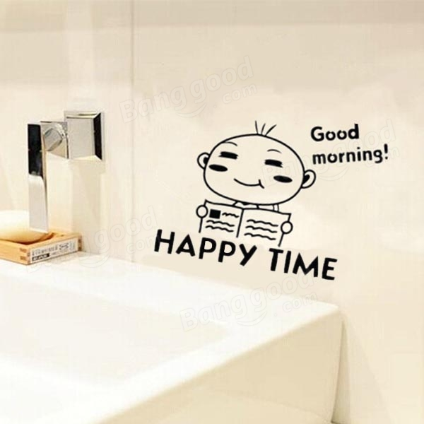 Waterproof Happy Time Pattern Toilet Sticker Bathroom Wall Stickers