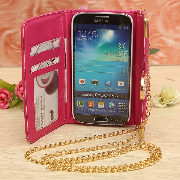 Mini Handbag Quilted Leather Wallet Case For Samsung Galaxy S4 i9500