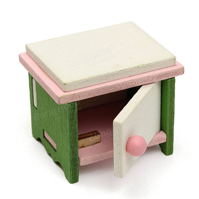 Dollhouse miniature bedroom kit wooden furniture set families role play toy sale Dollhouse wooden furniture