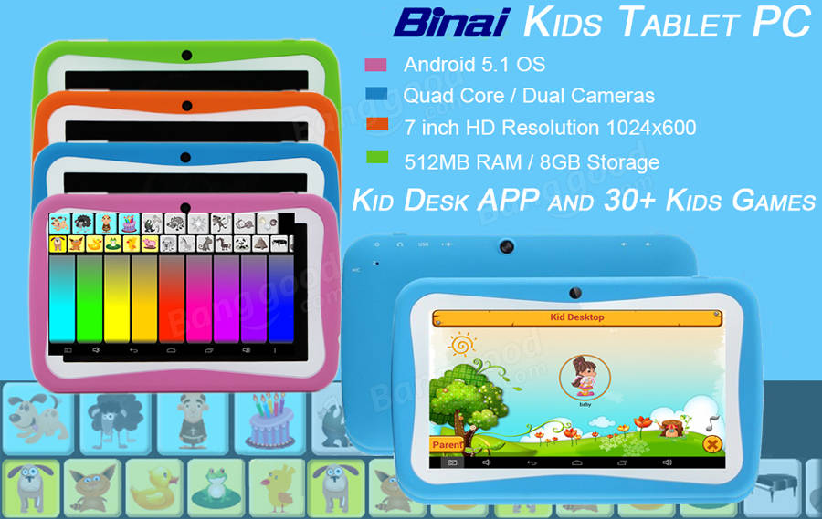 Binai A9 Quad Core 512M RAM 8G ROM Android 5.1 7 Inch Kids Tablet Blue