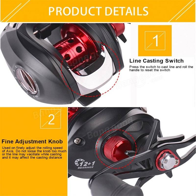 Bobing 12+1BB 6.3:1 Baitcasting Fishing Reel 4.5kg Drag Left Right Hand Water Drop Fishing Wheel