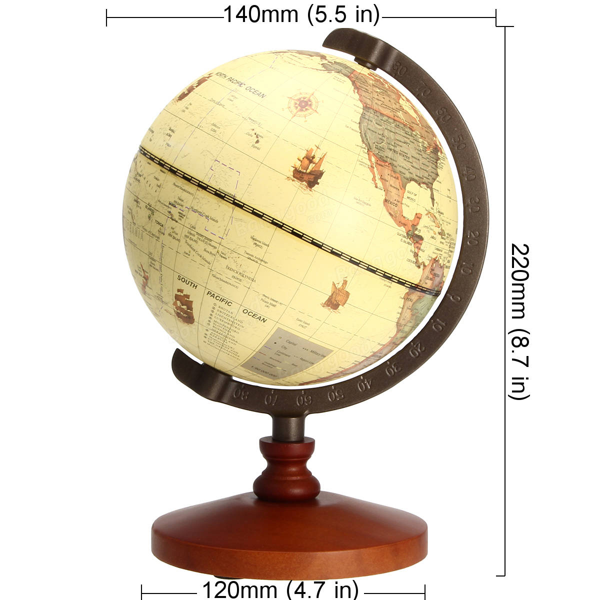 5.5 Vintage Desktop Table Rotating Earth World Map Globe Antique Geography Home Decor Gift