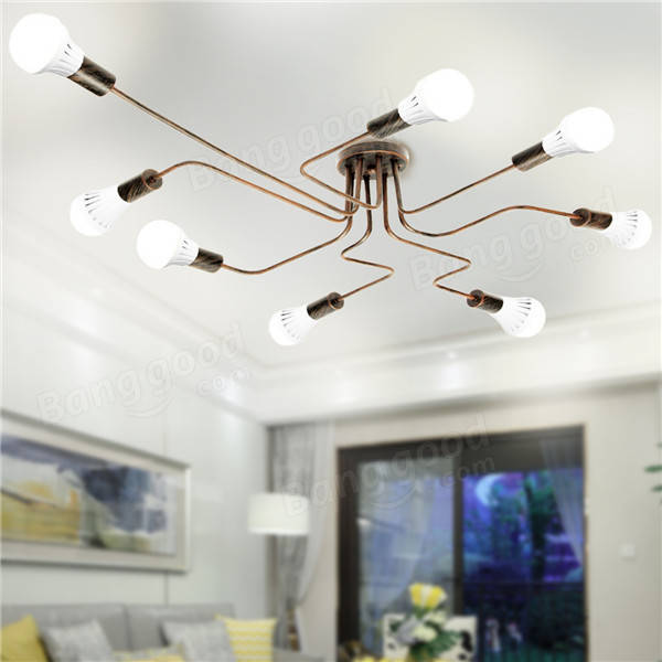 E27 8Heads Vintage Industrial Chandelier Pendant Light Metal Flush Mount Ceiling Lamp AC110-240V