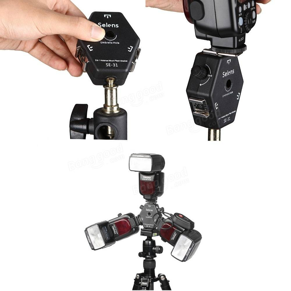 Selens SE-31 Triple Mount Speedlight Flash Bracket Light Stand Umbrella Holder