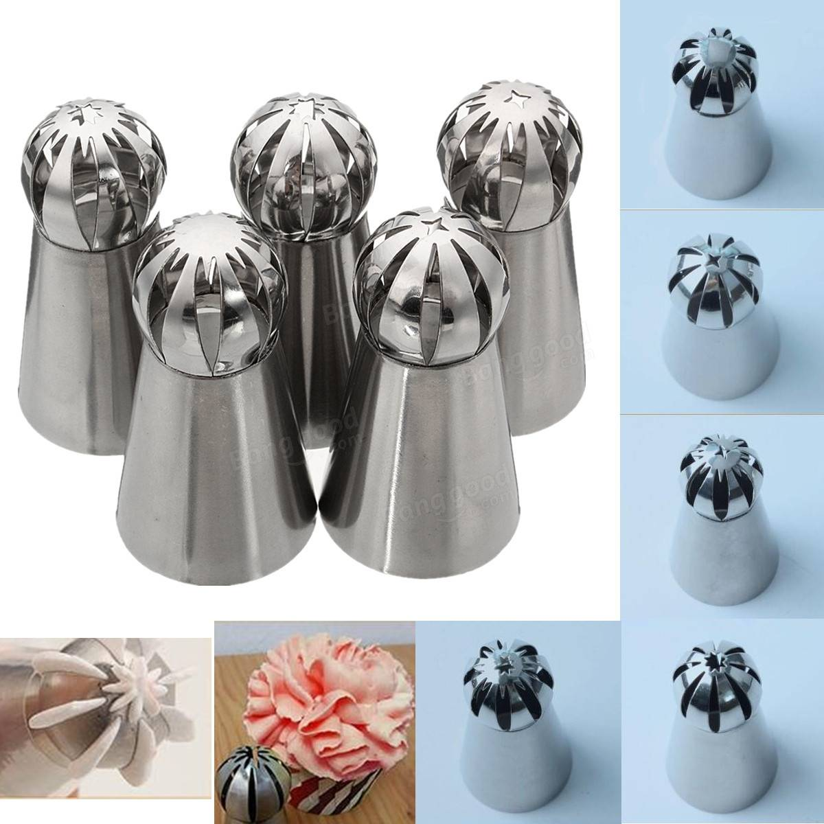 5pcs Stainless Steel Sphere Ball Icing Piping Nozzle Cupcake Pastry Tips Decor